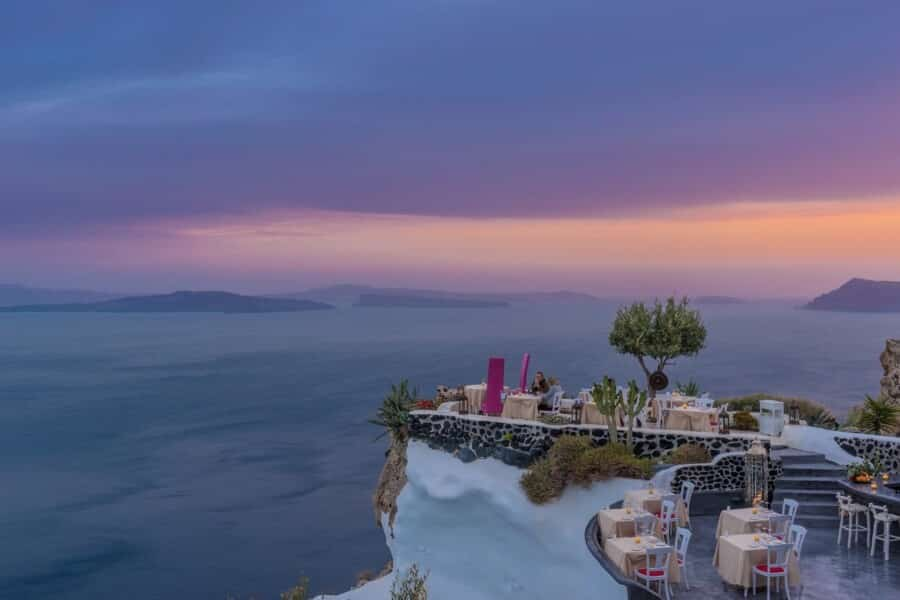 Dining at one of the best restaurant in Oia Santorini